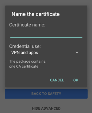 Android certificate install
